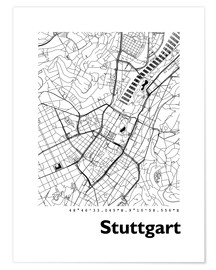 Poster City map of Stuttgart