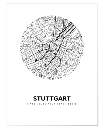 Premium poster City map of Stuttgart