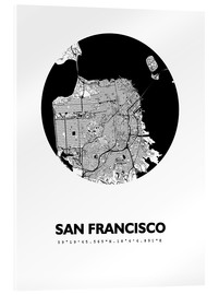 Acrylic print  City map of San Francisco - 44spaces