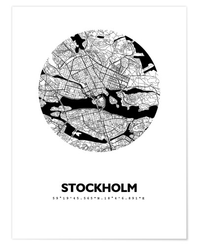 Poster City map of Stockholm