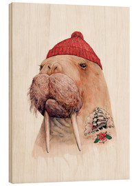 Wood print  Tattooed walrus with red cap - Animal Crew
