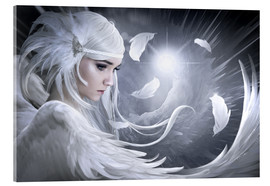 Acrylic glass  White feathers - Elena Dudina