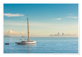 Premium poster  Sailboat in front of San Francisco, California, USA - Markus Kapferer