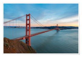 Premium poster San Francisco - Golden Gate Bridge at Sunset