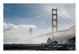Premium poster San Francisco - Fog at Golden Gate Bridge
