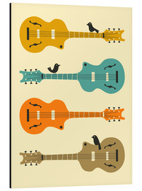 Aluminium print  BIRDS ON GUITAR STRINGS - Jazzberry Blue