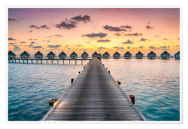 Premium poster Romantic sunset in the Maldives