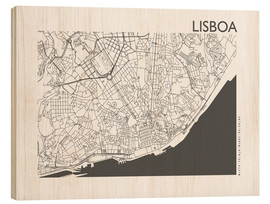 Wood print  City map of Lisbon - 44spaces