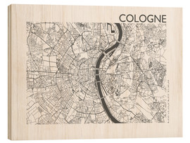 Wood print  City map of Cologne - 44spaces