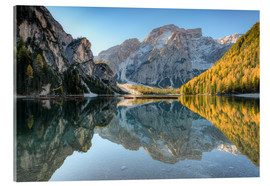 Acrylic glass  Morning at Braies Lake in South Tyrol - Michael Valjak