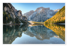 Premium poster Morning at Braies Lake in South Tyrol