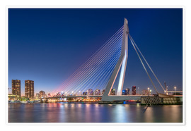 Premium poster Skyline of Rotterdam and Erasmus Bridge