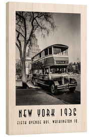 Wood print  Historic New York - 10 Fifth Avenue Bus, Washington Square - Christian Müringer