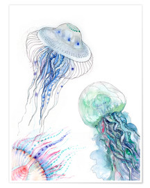 Premium poster  Sea life - jellyfish - Verbrugge Watercolor