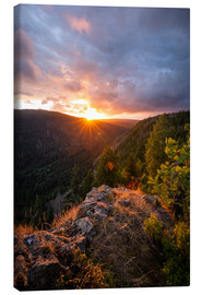 Canvas print  Dramatic sunset on a cliff in the Harz - Oliver Henze