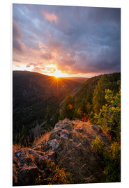 Foam board print  Dramatic sunset on a cliff in the Harz - Oliver Henze