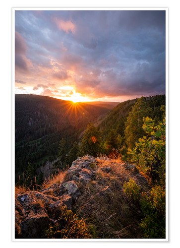 Premium poster Dramatic sunset on a cliff in the Harz