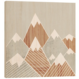 Wood print  Concrete mountains I - Mia Nissen