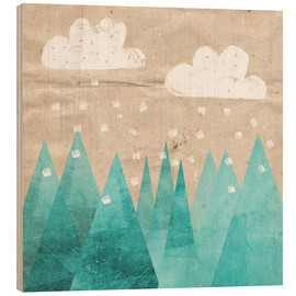 Wood print  Clouds with Mountain - Mia Nissen
