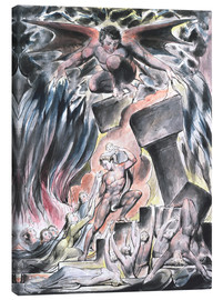 Canvas  jobs sons and daughters overwhelmed by satan - William Blake