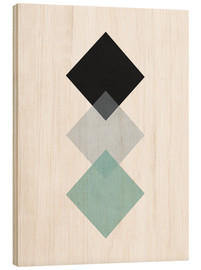 Wood print  green square - Nouveau Prints