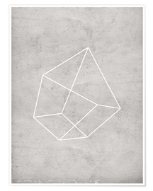 Premium poster Gray polygon 6
