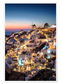 Premium poster Santorini at the blue hour