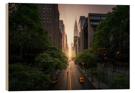 Wood print  New York sunset in the streets - Dennis Fischer