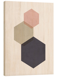 Wood print  Hexagon - Nouveau Prints