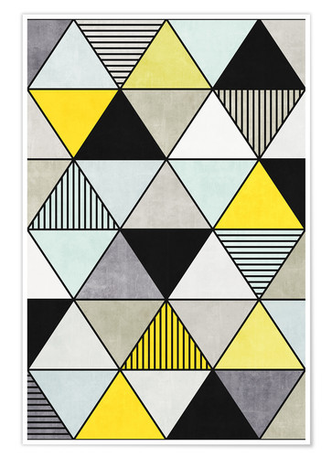 Premium poster Colorful Concrete Triangles 2 - Yellow, Blue, Grey