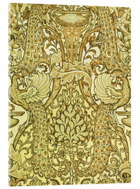 Acrylic glass  Golden peacocks - Walter Crane