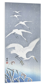 Foam board print  Heron in the snow - Ohara Koson