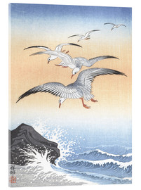 Acrylic glass  Five seagulls over stormy sea - Ohara Koson