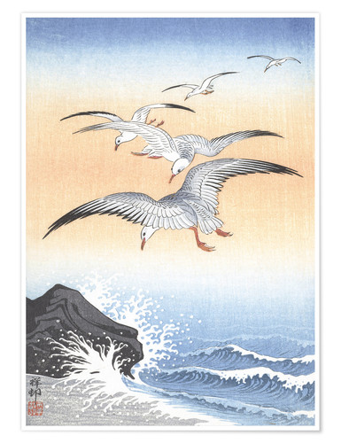 Premium poster Five seagulls over stormy sea