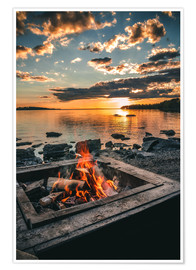 Premium poster Campfire on the lake, Sweden