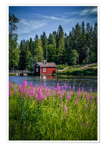 Premium poster Sweden house on the lake