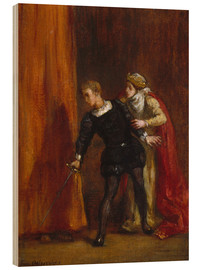 Wood  Hamlet and His Mother - Eugene Delacroix
