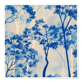 Premium poster Forest in azure blue