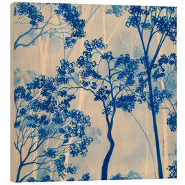 Wood print  Forest in azure blue - Herb Dickinson