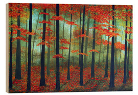 Wood print  Forest dawn - Herb Dickinson