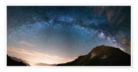 Premium poster Milky Way arch and starry sky on the Alps. panoramic view
