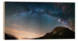 Wood print  Milky Way arch and starry sky on the Alps. panoramic view - Fabio Lamanna
