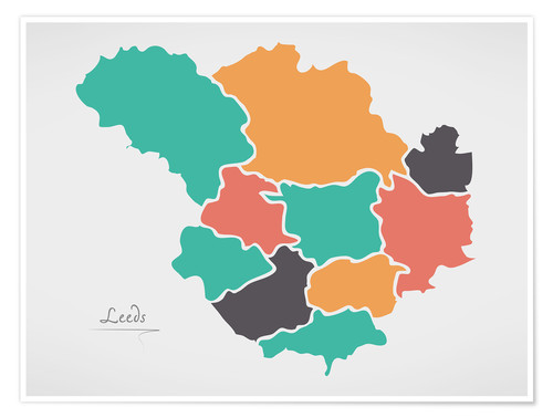 Premium poster Leeds city map modern abstract with round shapes
