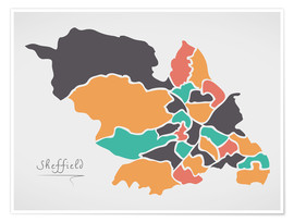 Premium poster Sheffield city map modern abstract with round shapes