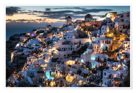 Premium poster Santorini, after sunset
