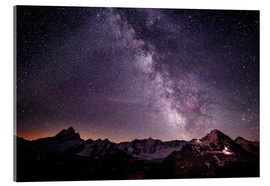 Acrylic print  Nightscape mountain panorama with Schreckhorn Fiescherhorn and Eiger view from First, Grindelwald, - Peter Wey