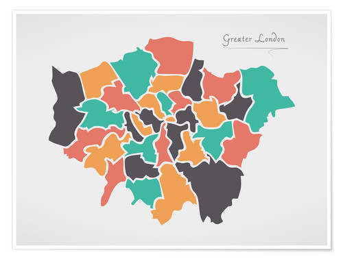 Premium poster Greater London city map modern abstract with round shapes