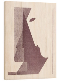 Wood print  Three profiles between the vertical and the diagonal - Oskar Schlemmer