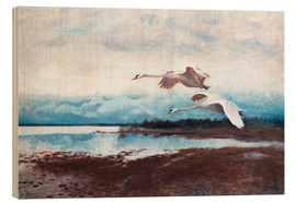 Wood print  swans in flight - Bruno Andreas Liljefors