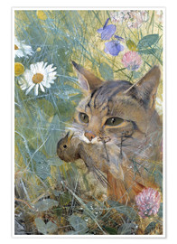 Premium poster A Cat with a Young Bird in its Mouth